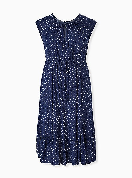 Navy & White Star Challis Drawstring Midi Dress, STARS-NAVY, hi-res