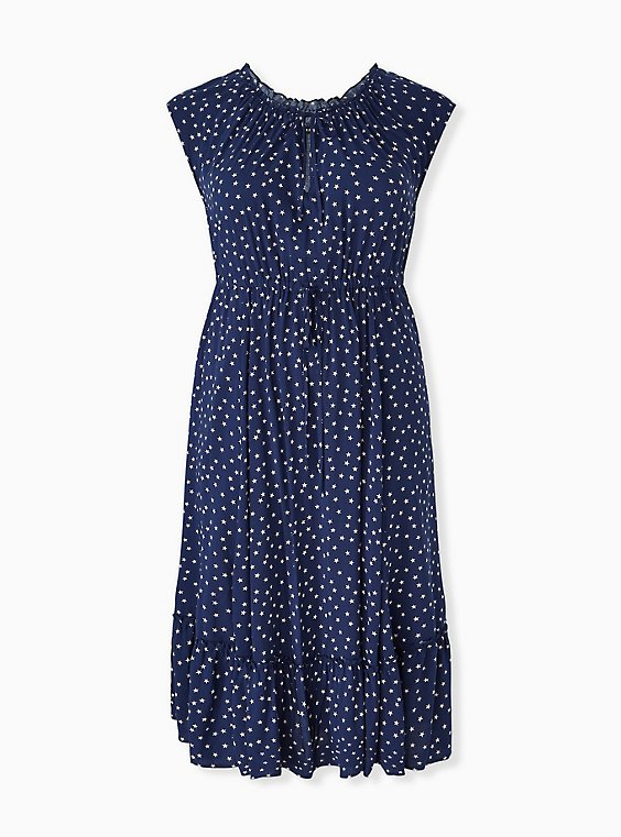 Plus Size Navy & White Star Challis Drawstring Midi Dress, , hi-res