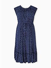 Navy & White Star Challis Drawstring Midi Dress, STARS-NAVY, hi-res