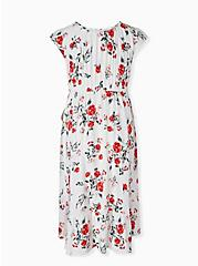 White & Red Floral Challis Drawstring Midi Dress, FLORAL - WHITE, alternate