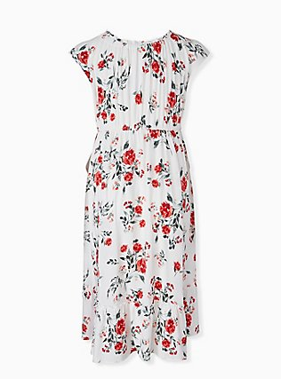 Plus Size White & Red Floral Challis Drawstring Midi Dress, FLORAL - WHITE, alternate