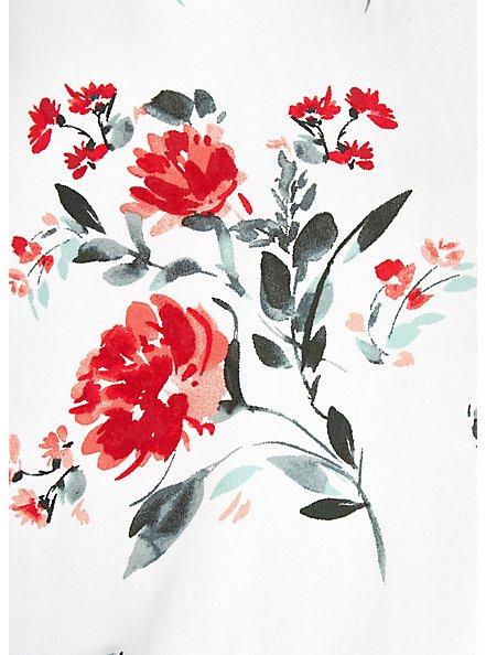 White & Red Floral Challis Drawstring Midi Dress, FLORAL - WHITE, alternate