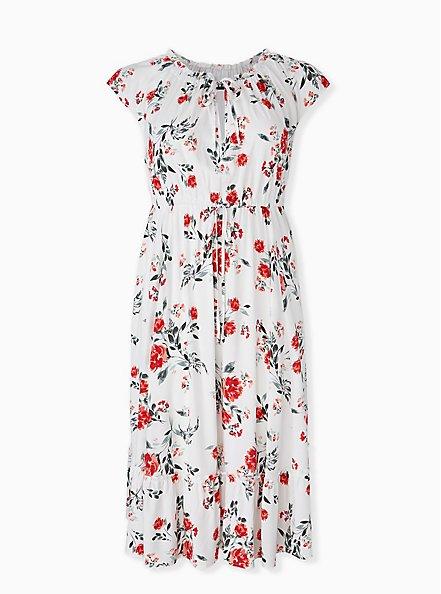 White & Red Floral Challis Drawstring Midi Dress, FLORAL - WHITE, hi-res