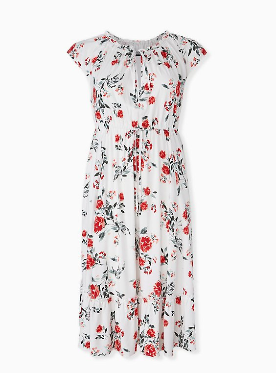 Plus Size White & Red Floral Challis Drawstring Midi Dress, , hi-res
