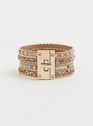 Multicolored Stone Cuff, CORAL, alternate