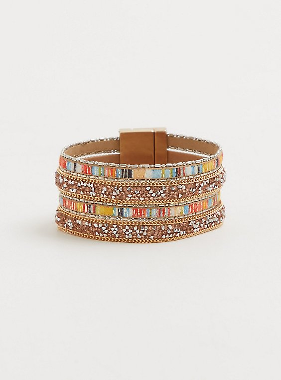 Plus Size Multicolored Stone Cuff, , hi-res