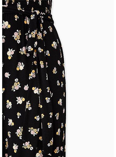Super Soft Black Floral Smocked Culotte Jumpsuit, FLORAL - BLACK, alternate