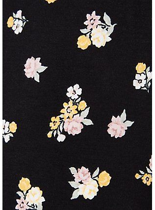 Super Soft Black Floral Smocked Culotte Jumpsuit, FLORAL - BLACK, alternate