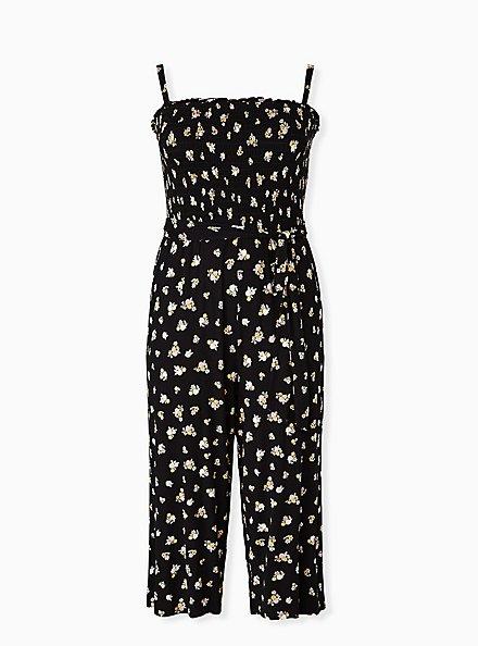 Super Soft Black Floral Smocked Culotte Jumpsuit, FLORAL - BLACK, hi-res