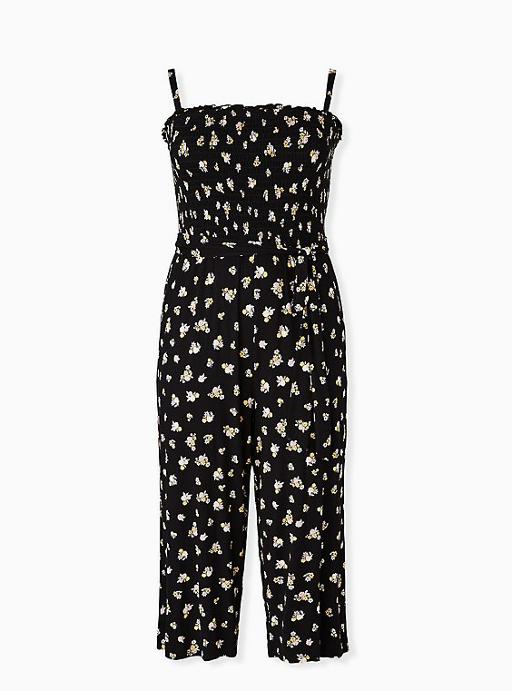 Super Soft Black Floral Smocked Culotte Jumpsuit, , hi-res