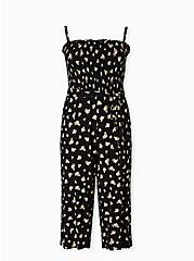 Super Soft Black Floral Smocked Culotte Jumpsuit, FLORAL - BLACK, hi-res