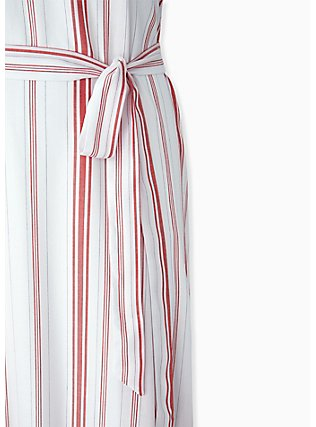 Plus Size Red & White Stripe Shirred Hem Maxi Dress , STRIPE - RED, alternate