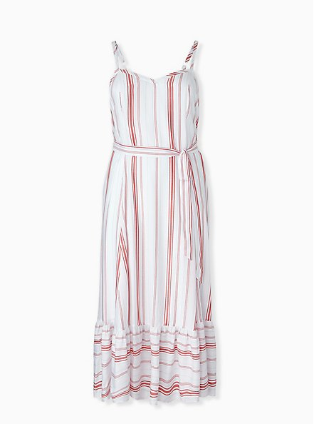 Red & White Stripe Shirred Hem Maxi Dress , STRIPE - RED, hi-res