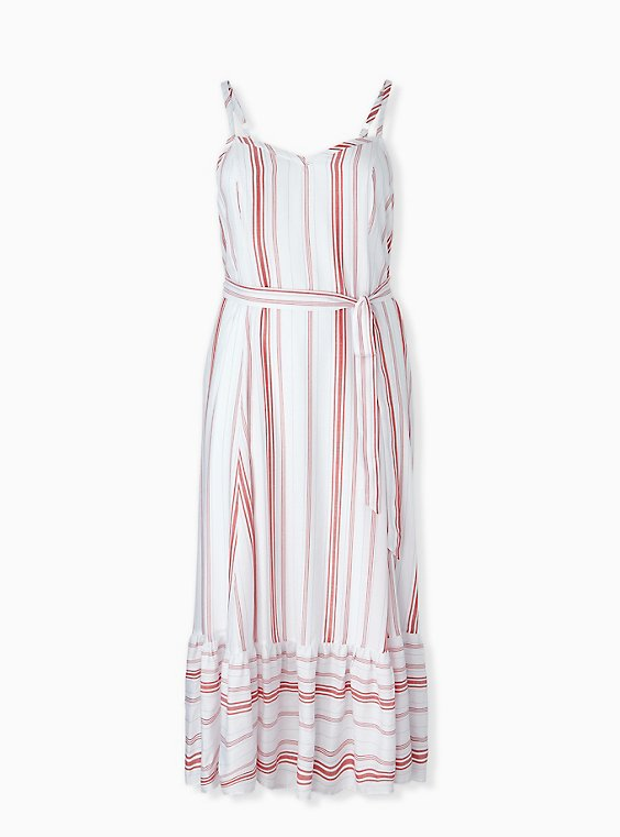 Plus Size Red & White Stripe Shirred Hem Maxi Dress , , hi-res
