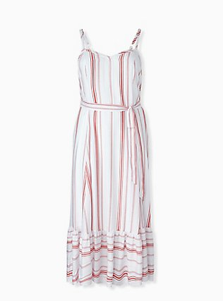 Plus Size Red & White Stripe Shirred Hem Maxi Dress , STRIPE - RED, hi-res