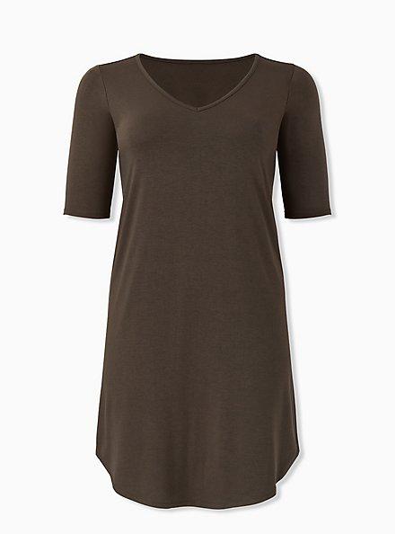 Olive Green Jersey T-Shirt Dress, DEEP DEPTHS, hi-res