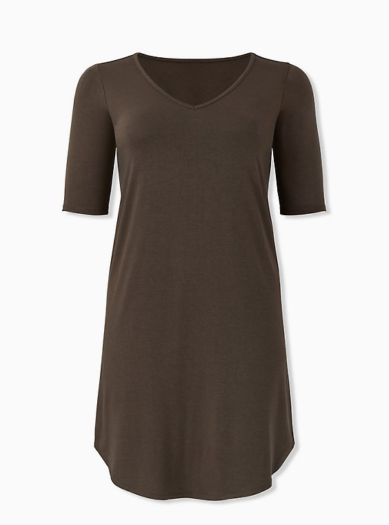 Olive Green Jersey T-Shirt Dress, , hi-res