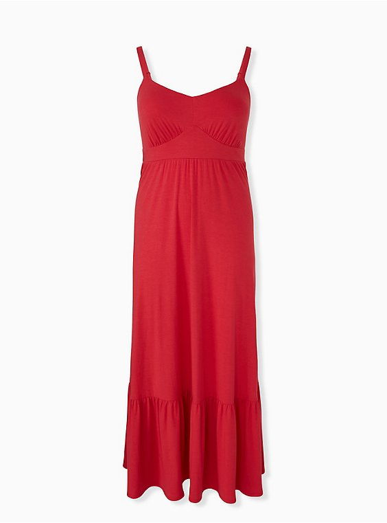 Red Jersey Shirred Hem Maxi Dress, , hi-res