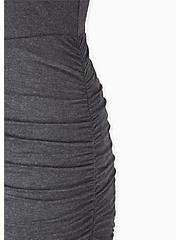 Super Soft Charcoal Grey Ruched Midi Bodycon Dress, HEATHER GREY, alternate