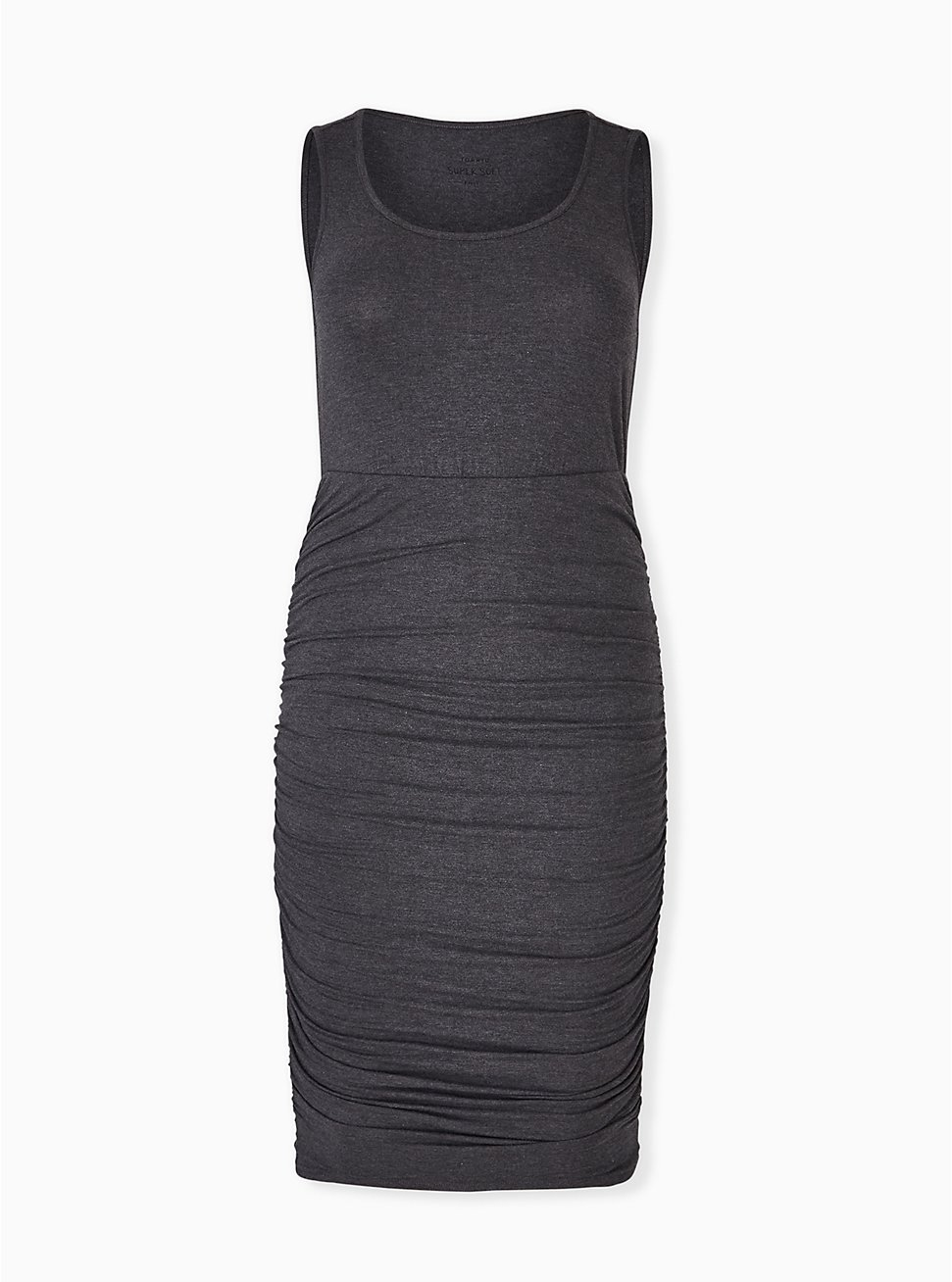 Super Soft Charcoal Grey Ruched Midi Bodycon Dress, HEATHER GREY, hi-res