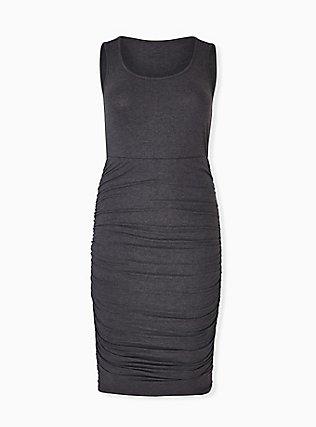Super Soft Charcoal Grey Ruched Midi Bodycon Dress, HEATHER GREY, hi-res