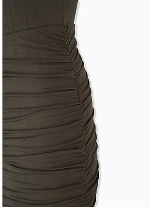 Super Soft Olive Green Ruched Midi Bodycon Dress, DEEP DEPTHS, alternate