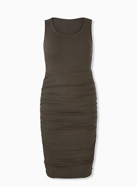 Super Soft Olive Green Ruched Midi Bodycon Dress, , hi-res