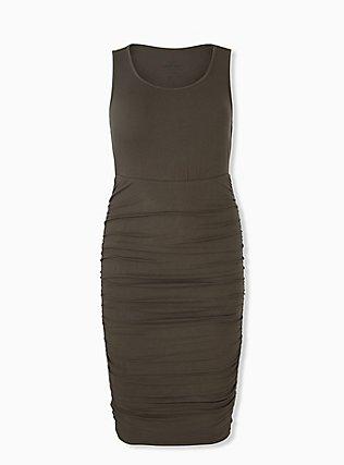 Super Soft Olive Green Ruched Midi Bodycon Dress, DEEP DEPTHS, hi-res