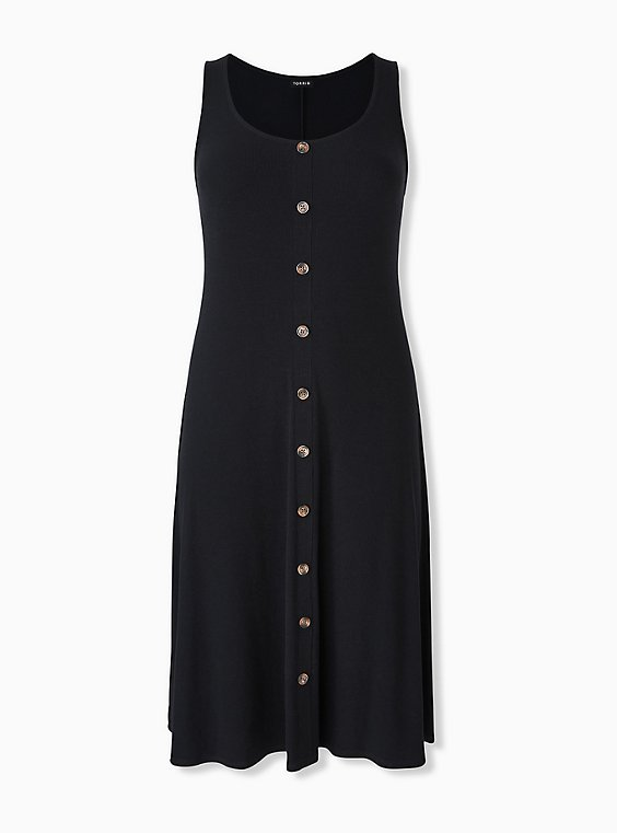 Black Rib Button Midi Dress, , hi-res