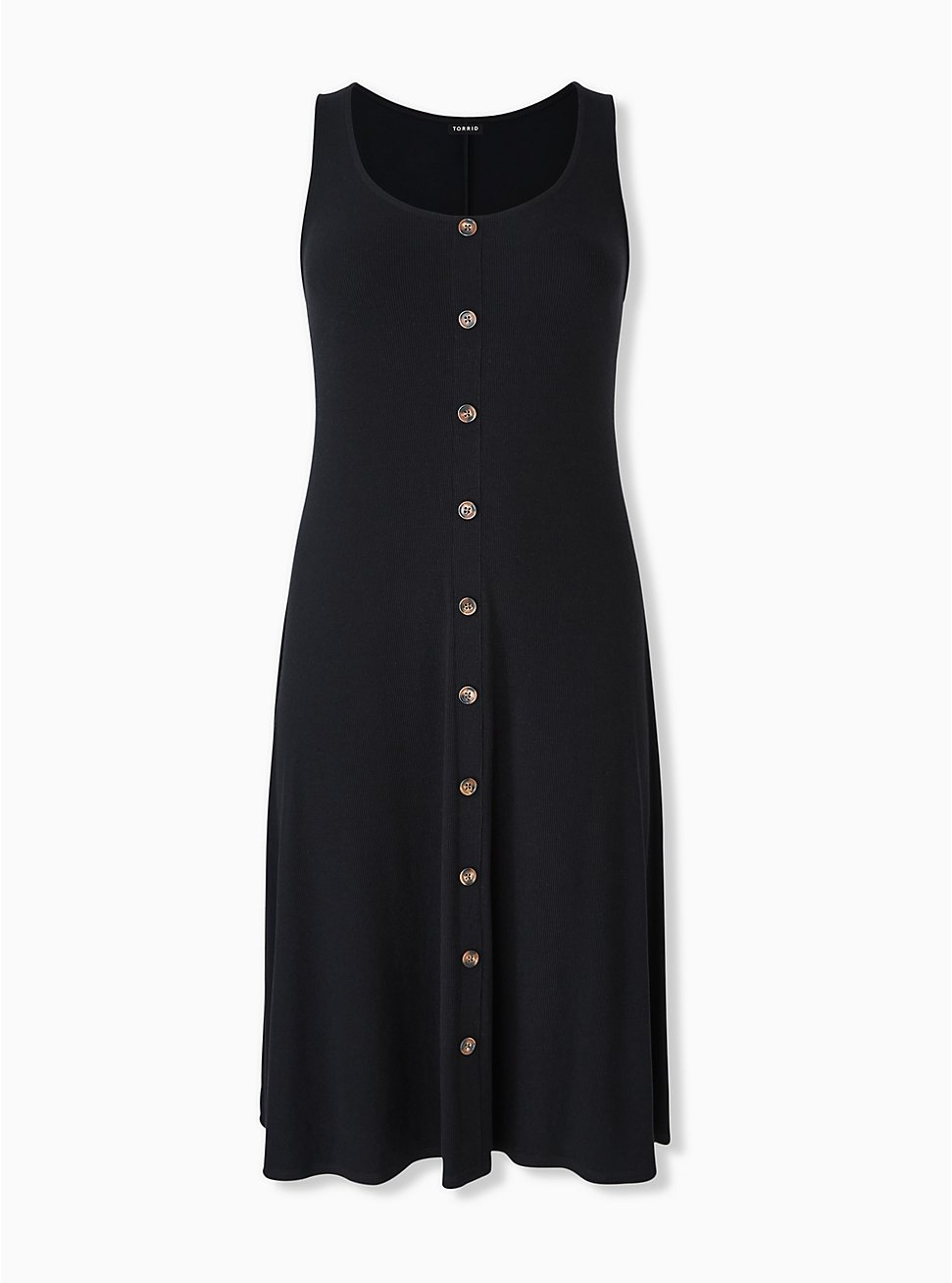 Black Rib Button Midi Dress, DEEP BLACK, hi-res