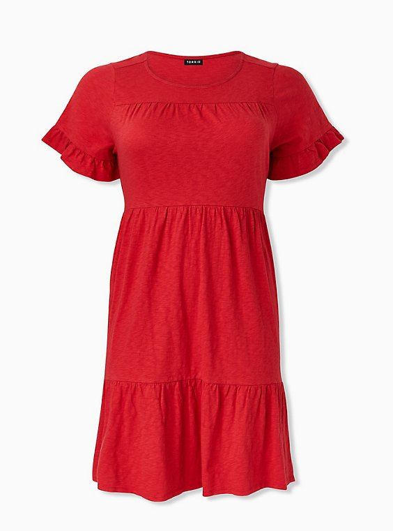 Plus Size Red Slub Jersey Tiered Hem Mini Dress, , hi-res