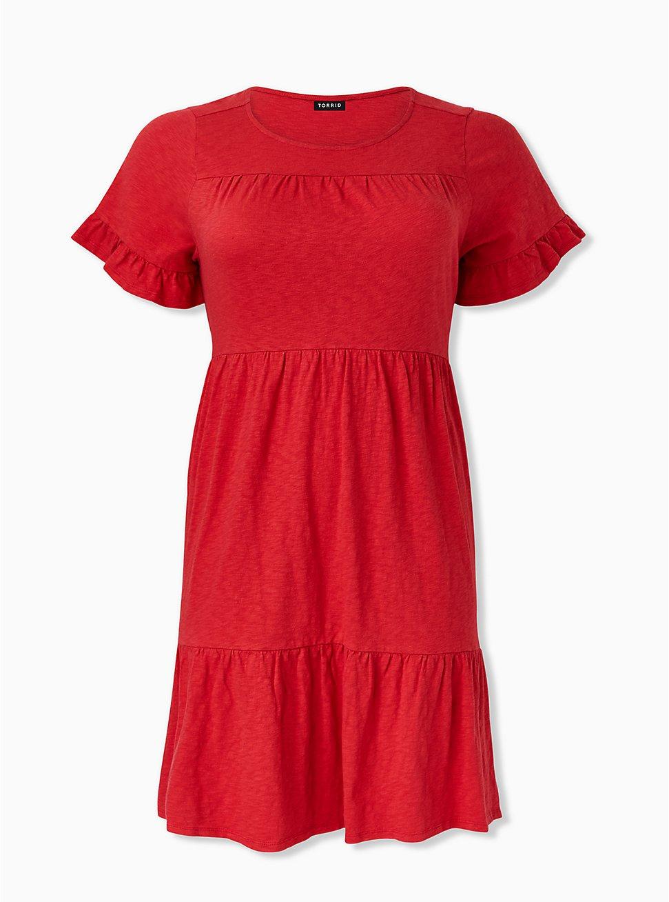 Red Slub Jersey Tiered Hem Mini Dress, AMERICAN BEAUTY, hi-res