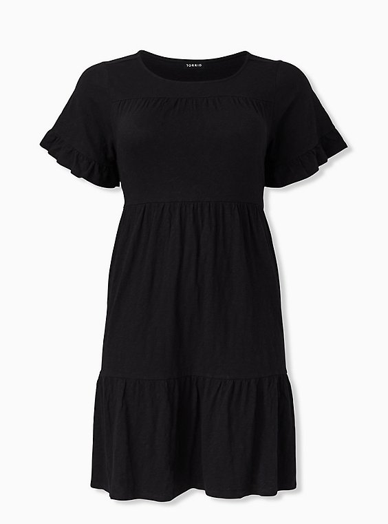 Plus Size Black Slub Jersey Shirred Hem Mini Dress, , hi-res