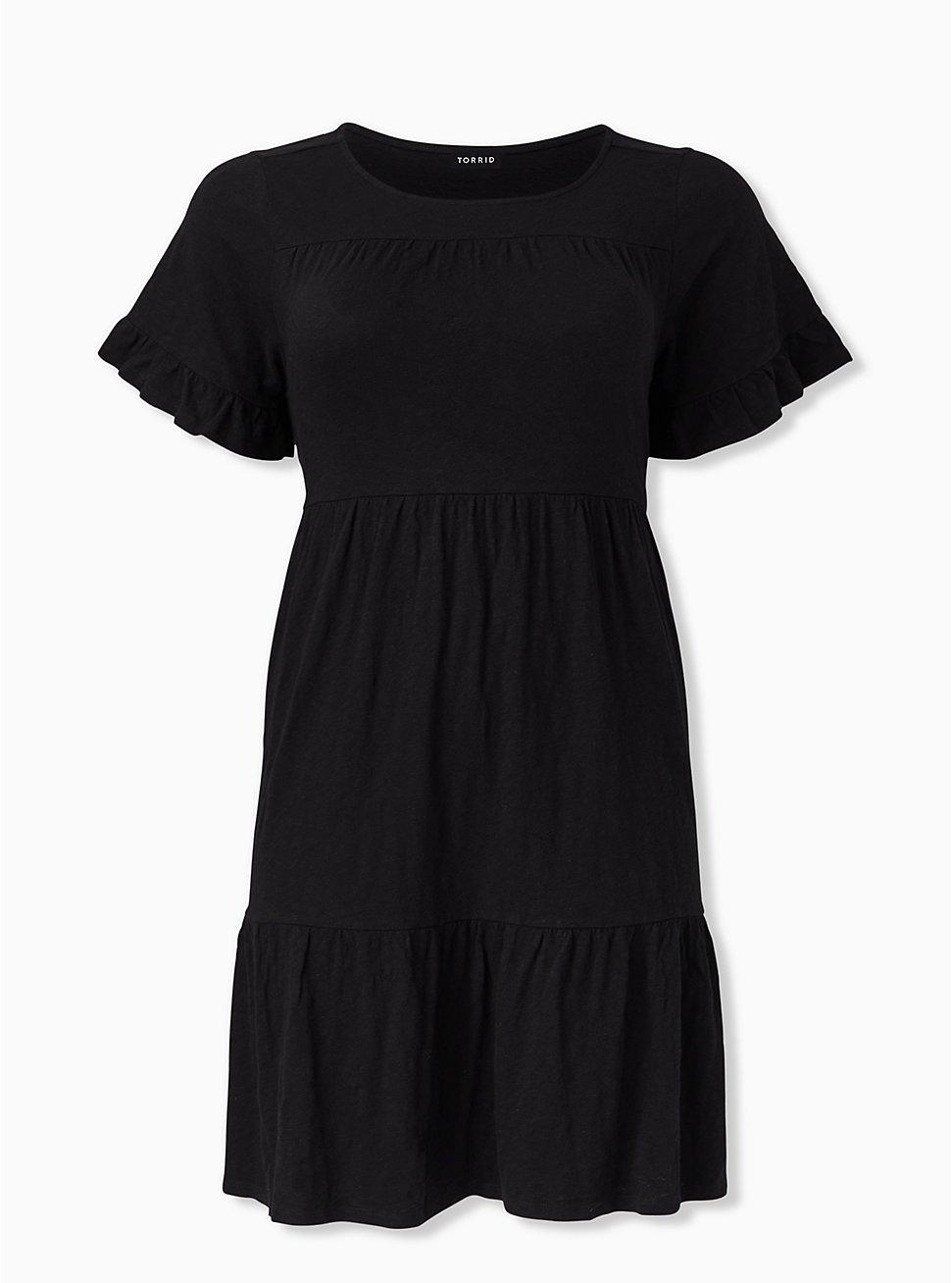 Black Slub Jersey Shirred Hem Mini Dress, DEEP BLACK, hi-res