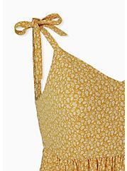 Plus Size Mustard Yellow Ditsy Floral Studio Knit Mini Dress, FLORAL - YELLOW, alternate