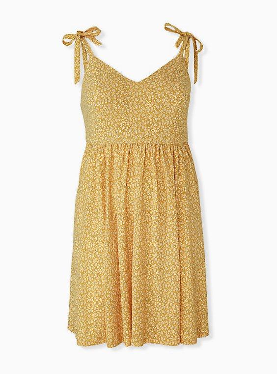 Plus Size Mustard Yellow Ditsy Floral Studio Knit Mini Dress, , hi-res