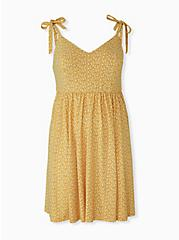 Plus Size Mustard Yellow Ditsy Floral Studio Knit Mini Dress, FLORAL - YELLOW, hi-res