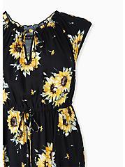 Black & Yellow Sunflower Challis Drawstring Maxi Dress, FLORAL - BLACK, alternate