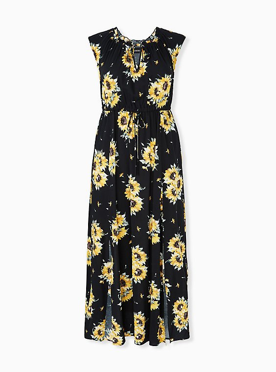 Plus Size Black & Yellow Sunflower Challis Drawstring Maxi Dress, , hi-res