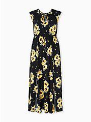 Black & Yellow Sunflower Challis Drawstring Maxi Dress, FLORAL - BLACK, hi-res