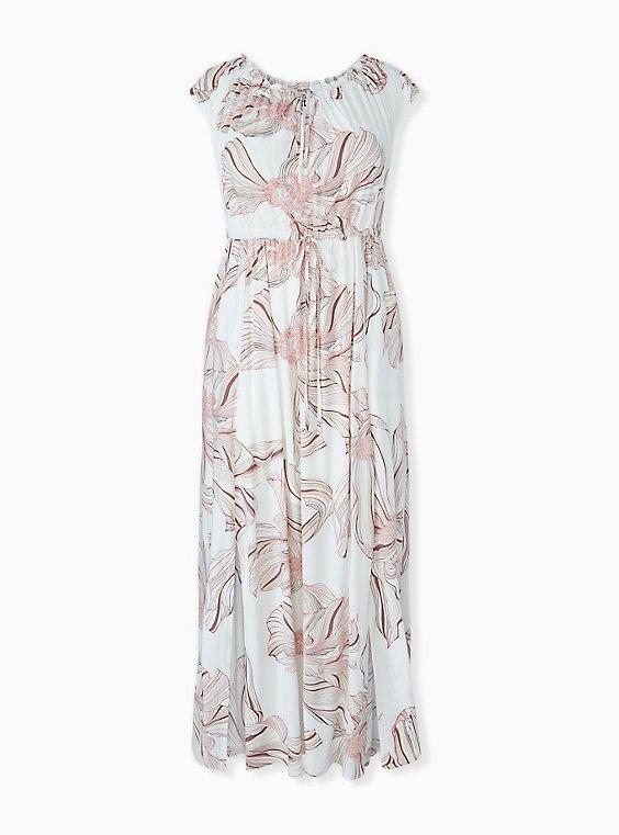 White Floral Challis Drawstring Maxi Dress, , hi-res