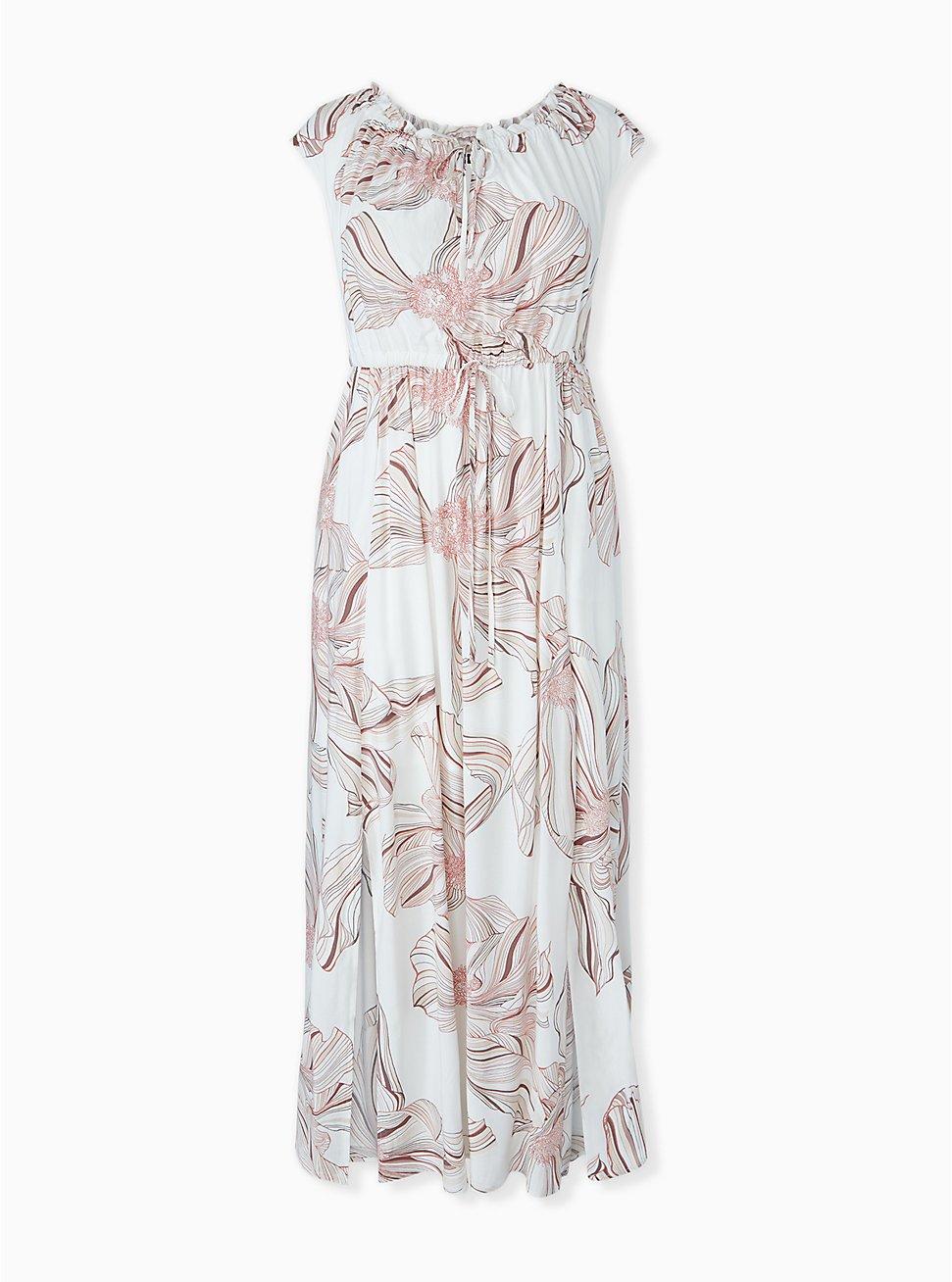 White Floral Challis Drawstring Maxi Dress, FLORAL - WHITE, hi-res