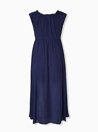 Navy Gauze Drawstring Maxi Dress, AMERICAN BEAUTY, alternate