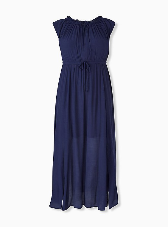 Navy Gauze Drawstring Maxi Dress, AMERICAN BEAUTY, hi-res