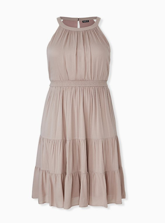 Taupe Textured Tiered Skater Dress, , hi-res