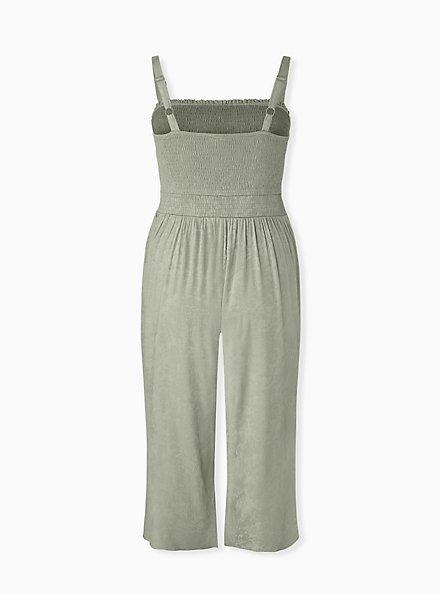Sage Green Jacquard Smocked Culotte Jumpsuit, SEAGRASS, alternate