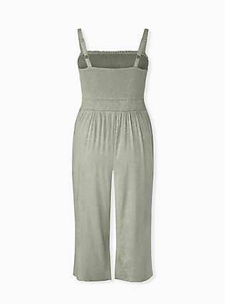 Sage Green Jacquard Smocked Culotte Jumpsuit, SEAGRASS, alternate