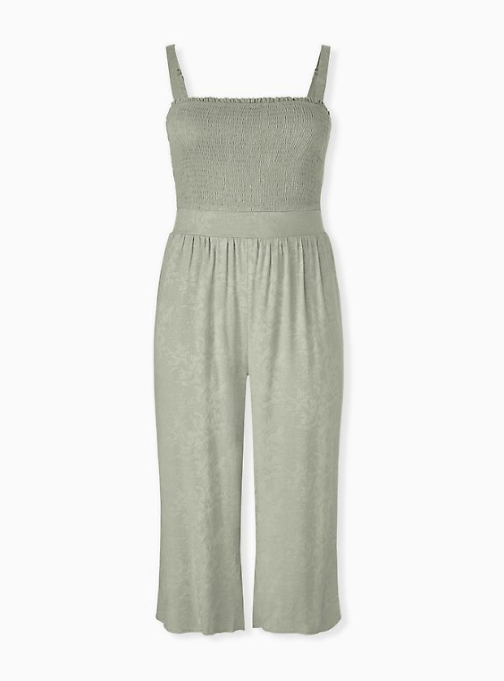 Plus Size Sage Green Jacquard Smocked Culotte Jumpsuit, , hi-res