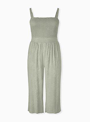 Sage Green Jacquard Smocked Culotte Jumpsuit, SEAGRASS, hi-res