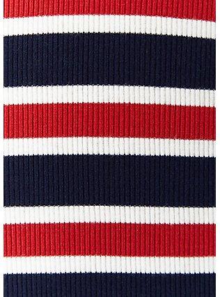 Red White & Blue Stripe Rib Button Midi Dress, STRIPE - MULTI, alternate